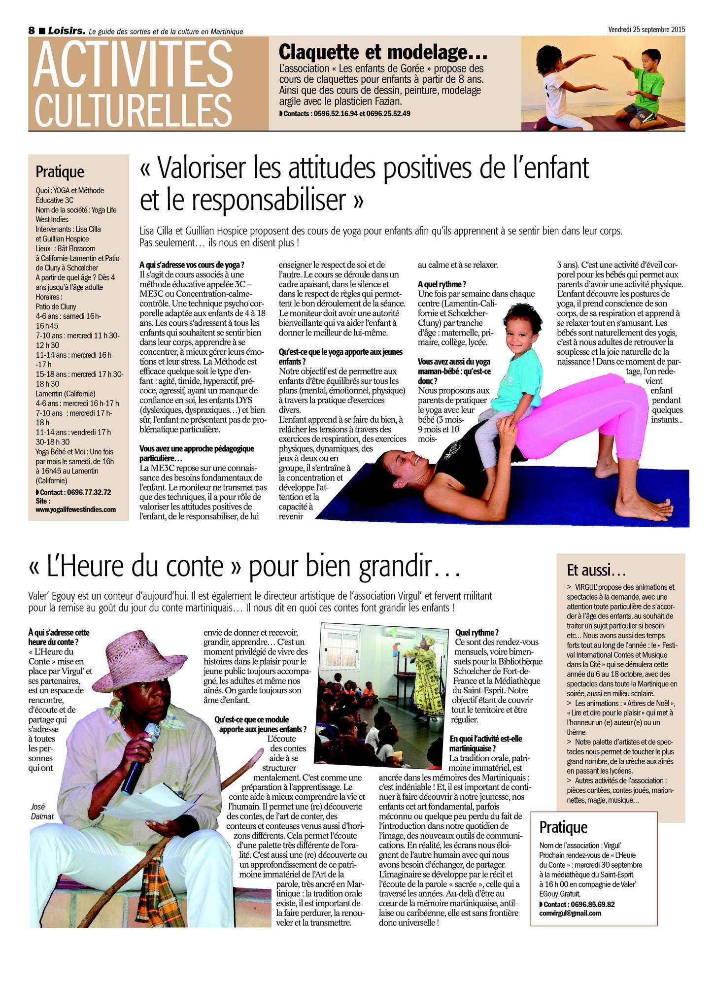 Yoga Life Enfants 2015-09-25 Cours de Yoga Martinique Lamentin Schoelcher