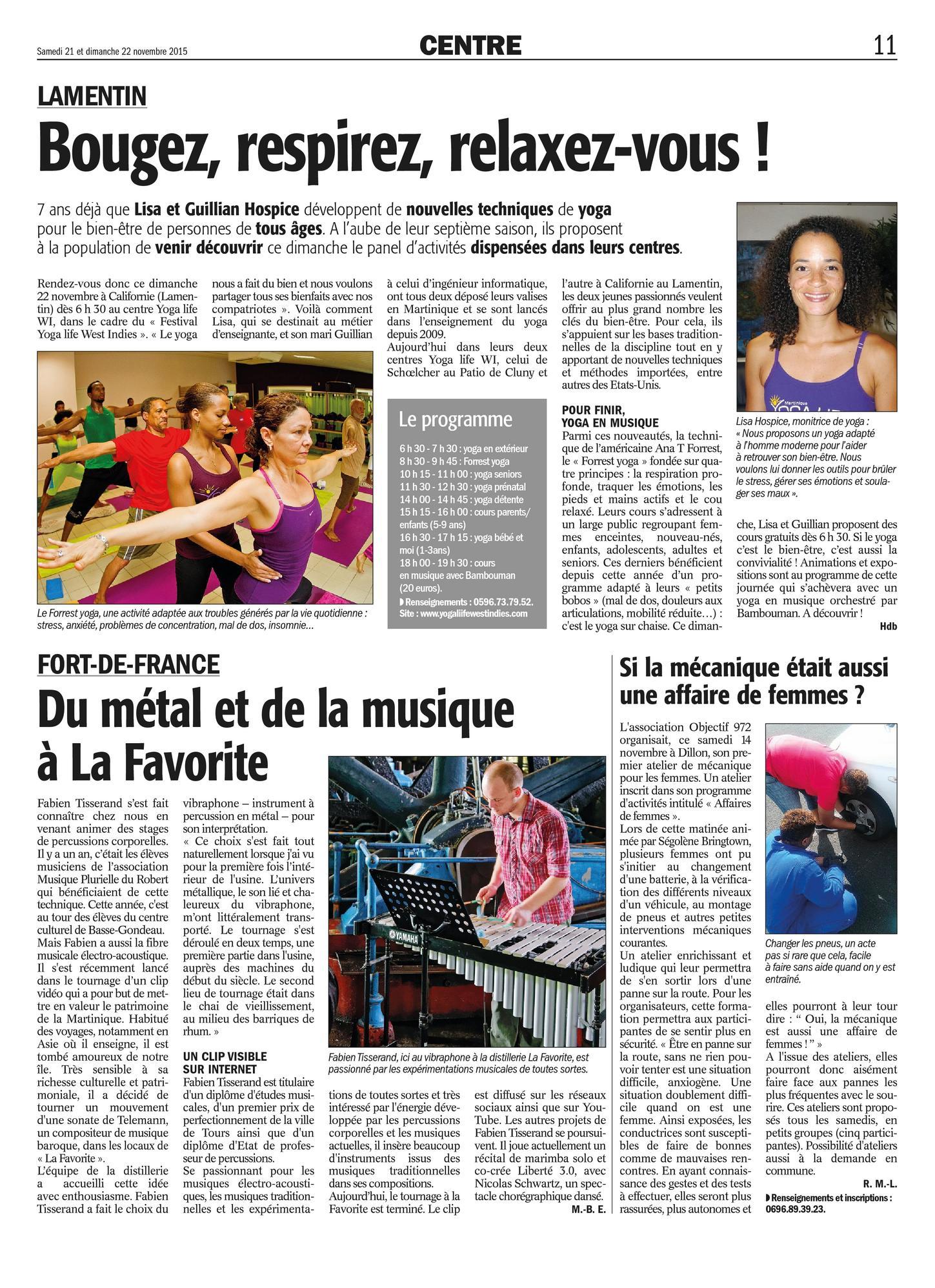 Yoga Life West Indies FA2015-11-21 Cours de Yoga Martinique Lamentin Schoelcher