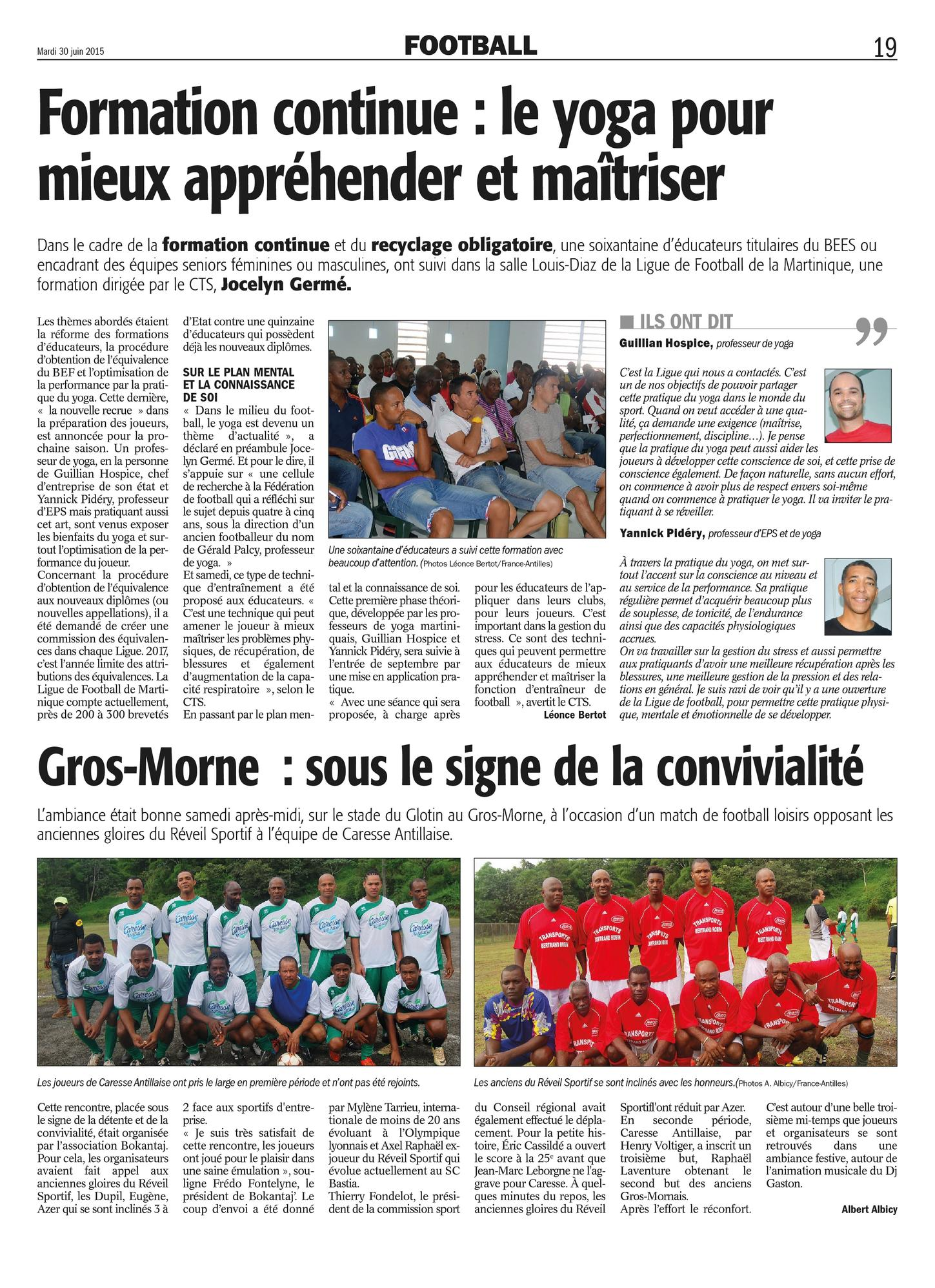 Yoga ligue football FA2015-06-30 Martinique Lamentin Schoelcher